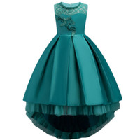 Hot selling Pretty High Low Satin Flower Girl Dresses 6 Colors 2018 Beaded Appliqued Dresses For Girls Kids Prom Dresses MC1496