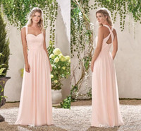 Wholesale baby blue chiffon long dresses resale online - Baby Pink A Line Bridesmaid Dresses Sweetheart Lace Chiffon Wedding Bridesmaid Gowns For Summer Sexy Back Design Evening Party Dresses BC013
