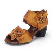 plataforma de cuero genuino zapatos de cuero de vaca al por mayor-Coger 2017 Verano de Cuero Genuino Sandalias de Las Mujeres Plataformas de Flores Hechas A Mano Slingback Cuero de Vaca Zapatos de Tacón Alto