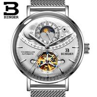 механические часы оптовых-Подлинные роскошные мужские механические наручные часы BINGER Марка Мужчины полностью стальные автоматические механические мужские с автоподзаводом водонепроницаемые часы Cruve поверхности