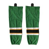 ingrosso calzini da hockey verdi-COLDINDOOR 100% Polyester Ice Hockey verde Calzini Cheap Parastinchi W032