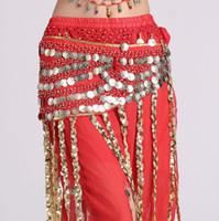 5df8a58b8c Cinto de moeda Tribal Mulheres traje de dança do ventre cintura cadeia de  borlas chiffon hip cachecol roupas indianas cintos saia longa cigana