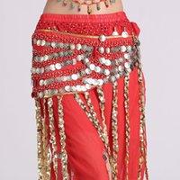 ingrosso catena della vita della vita del pancione-Cintura moneta tribale Donne danza del ventre costume catena catena nappe sciarpa in chiffon anca abbigliamento indiano lunghe cinture gonna gypsy
