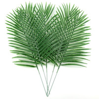 Wholesale party tropical - Artificial Green Leaf Large Plastic Tropical Palm Foliage Leaves Plant For Hawaiian Party Wedding Home Garden Decorations 10pcs lot