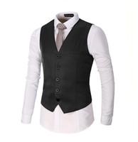 Wholesale wedding suit grey waistcoat - 2018 Formal Men's Black Red Blue White Grey Men Dress Suits Vest Plus Size Fashion Wedding Men Suit Vest Waistcoat