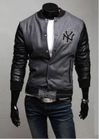 Wholesale Leather Hip Hop Winter Jackets - new high quality mens Winter Baseball leather Jackets men's hip hop autumn winter high fashion brand BBC jackets cheap Coats