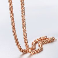 Wholesale wheat chain filled resale online - 4mm Rose Gold Filled Chain Mens Womens Necklace Wheat Spiga Link Fashion Jewelry GN255