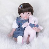 Wholesale alive dolls resale online - 22Inch Reborn Baby Doll Lifelike Alive Girl Doll Realistic Supernatural Doll With Beautiful Dress For New Year Xmas Gifts