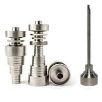 Wholesale titanium domeless water bong for sale - Group buy Top quality Universal domeless MM MM MM Male Female dab nail Ti Nails titanium carb cap For all oil rigs glass water bongs