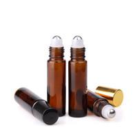 духи высокого качества оптовых-Высокое качество 700pcs/lot 10 мл Янтарный стеклянный рулон на бутылках духи ролл-на бутылке для эфирного масла косметической упаковки использования