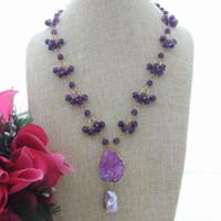 ingrosso collane minerali-N081310 Purple Keshi Pearl Round Mineral Druzy Slice Collana pendente