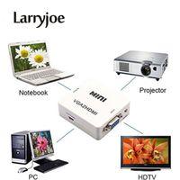 adaptador de proyector mini hdmi al por mayor-Larryjoe Mini 1080P Adaptador VGA a HDMI Adaptador Convertidor VGA2HDMI con Audio para PC Portátil a HDTV Proyector