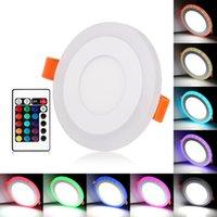 panel led de doble color al por mayor-Envío gratis regulable de doble color blanco RGB incrustado panel de luz LED 6W 9W 18W 24W Downlight luces empotradas iluminación interior con control remoto Cont