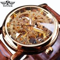 relógio de couro esqueleto mens marrom venda por atacado-Vencedor Transparente Caixa De Ouro De Luxo Casual Design Pulseira De Couro Marrom Mens Relógios Top Marca De Luxo Relógio De Esqueleto Mecânico Y1892111