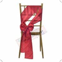 ingrosso copricapo taffetà-Nice Looking Spedizione gratuita / Red WEDDING Pintuck Taffeta fasce per sedie Banchetto telai per sedie copertura della sedia Hotel decorazioni Colorate