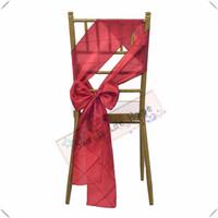 красный свадебный банкет стул оптовых-Красивый бесплатная доставка / красный свадебный Pintuck Тафта стул полосы банкетный стул створки для крышки стула отель украшения красочные