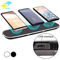 cargadores inalámbricos de 12v al por mayor-Almohadilla de carga del cargador inalámbrico QI 12V / 3A 3 en 1 con adaptador de carga USB para iPhone 8 X Sumsung Galaxy S8 S8 + Note8