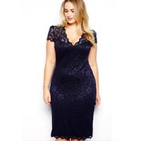Wholesale Wholesale Plus Size Bodycon - Women Fashion Dress Sexy Pencil Bodycon Dress Short Sleeve V Neck Slim Fit Blue Lace Vestidos Plus Size