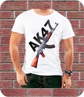 presentes da novidade do exército venda por atacado-Ak 47 Militar Do Exército Dos Homens T Shirt Presente de Aniversário Presente de Moda Na Moda 3xl Hip Hop Novidade T Camisas Roupas de Marca dos homens