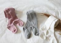 strumpfhosen weiße baumwolle großhandel-Kinder Strumpfhosen Mode neue Kinder Twist stricken Leggings Baby Mädchen Strumpfhosen passen 0-8 Jahre Kinder Baumwolle unten weiß grau rosa Y4517