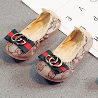Wholesale rolling shoes - Christmas 2018 new pedal soft bottom metal GG baby shoes children cute Korean wild egg roll shoes Princess tide canvas shoes