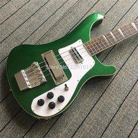 özel elektrikli bas toptan satış-Özel RIC 4 Dizeleri Metalik Yeşil 4003 Elektrik Bas Gitar Krom Donanım Üçgen MOP Klavye Kakma Üst Satış