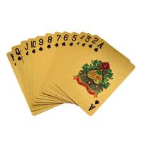 tarjetas de papel de oro al por mayor-24K Gold Foil Plated Poker Card Juego de naipes de alto grado Sports Leisure Game Poker Tarjeta de regalo al por mayor