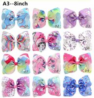 Wholesale metal hairband accessories online - Jojo Siwa Hair Bows Solid Color With Clips Papercard Metal Logo Girls Giant Rainbow Rhinestone Hair Accessories Hairpin hairband