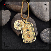 Wholesale Mens Charm Necklaces - Famous Brand Hiphop Style Gold Plated Medusa Charm Necklace Jewelry Mens Womens Hip Hop Dog Tag Medusa Pendant Necklace