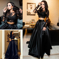 Wholesale women pieces formal dress - Sexy Two Pieces Arabic Evening Dresses Ball Lace Long Sleeve Black Plus Size 2018 Saudi African Prom Party Women Gowns Formal Wear