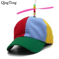 Wholesale bamboo dragonfly - Funny Adult Kids Propeller Baseball Caps Colorful Patchwork Brand Hat Propeller Bamboo Dragonfly Children Boys Girls Snapback
