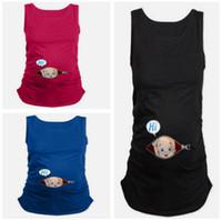 t-shirts pour bébé achat en gros de-Summer Mother Débardeurs de haute qualité Débardeurs enceintes 3D Baby Printing T-shirts sans manches femme Débardeurs