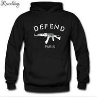 Wholesale black skate hoodie for sale - Mens Hoodie DEFEND PARIS AK47 Printed Hoodies Men Fleece Long Sleeve Men s Skate Sweatshirt Bodybuilding Tracksuit Streetwear