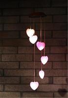 ingrosso luce notturna della lampada di cuore-LED Solar Chime Heart Light Multicolor Hanging Decoration Impermeabile Nightlight Cambiare colore Lampada solare H456