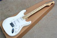 gran guitarra electrica blanca al por mayor-Guitarra eléctrica blanca con 3S pastillas blancas, mástil de arce, cabezal grande, hardware Chrome, que ofrece servicios personalizados