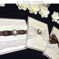ingrosso pizzo stampabile-Inviti di nozze di lusso High Eed pizzo personalizzato perline Wedding Party stampabile Biglietti d'invito Nastro con busta carta sigillata