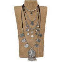 старинная длинная цепь оптовых-2017 new Heavy metal Statement Gypsy Ethnic Vintage Antique Silver  tassel pendants long Maxi Necklace Chains Necklace