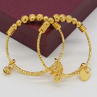gold armbänder stück großhandel-Adixyn ZWEI STÜCK Ball Bangles Für Baby / Kinder Gold Farbe Äthiopischen Armband / Armreif Trendy Afrikanischen Arabischen Schmuck