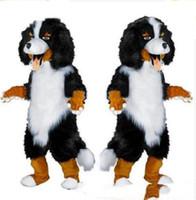 trajes de dibujos animados blanco negro al por mayor-2018 diseño de la venta caliente Custom White Black Sheep Dog Mascot Costume Cartoon Character Fancy Dress para party supply Adult Size