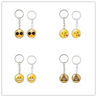 Wholesale Silver Smile Charms - Cartoon Emoji 2.5cm Mini Keychains Cute Round Face Many Style Keys Ring Charm Metal Cry Smile Design Key Buckle 1 3sx Z