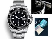 Wholesale watch winding boxes - Luxury Watches Box Glidelock Clasp Black Ceramic Bezel 116610 16610 Stainless Steel Automatic Men's Watch Sports Self-wind Wristwatch