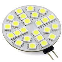 потолочный светильник 24 в постоянного тока оптовых-G4 LED Disc Round Range Hood Lights 12V 24V AC/DC LED Ceiling Cabinet Lamp Bulb 24/30 LEDs 5050/3014 3W White Warm White