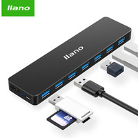 Wholesale black power cord online - llano USB splier with power cord HUB port USB3 multi port high speed expansion notebook computer converter metal black