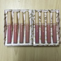 Wholesale Nude Lipgloss - Newest Hot Send Me More Nude 4pcs Set Nude Liquid Lipstick 4 Color Matte and Velvet Lipgloss free Shipping