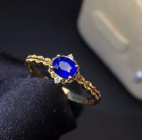 mavi safir elmas yüzük toptan satış-Güzel Takı Gerçek 18 K Beyaz Altın 100% Doğal 1.77ct Mavi Safir Taş 18 k Altın Kadınlar için Elmas Taş Kadın Yüzük Yüzükler