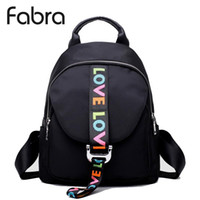 Wholesale back pack men for sale - Group buy Fabra Fashion Waterproof Nylon Backpacks Women Solid Zipper Preppy Style Soft Back Pack Unisex Small School Bag Love Embroidery