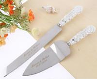 Wholesale resin wedding personalized resale online - Personalized Wedding Resin Cake Knife Serving Set Custom Cake Knife Shovel Birthday Gift Party Decoration