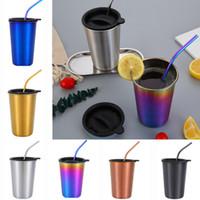 чайные наборы оптовых-Кружка из нержавеющей стали чашка 500 мл кофе Чашка пива с металлической соломой + крышки наборы открытый бар путешествия пить сок чашка чая WX9-1039