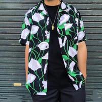 ingrosso dispositivo di raffreddamento del fiore della maglietta-Box Logo 18SS Week17 Lily Rayon Camicia a maniche corte hawaiana Fiore della spiaggia di estate T-shirt casuale freddo Via vacanze Tee HFYMTX346
