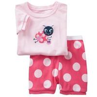 pijama rosa verano al por mayor-Pink Summer Baby Girl Clothes Set 2018 Baby Kids Pijamas Set Ropa de dormir Camiseta + Shorts Tamaño 2T-7T